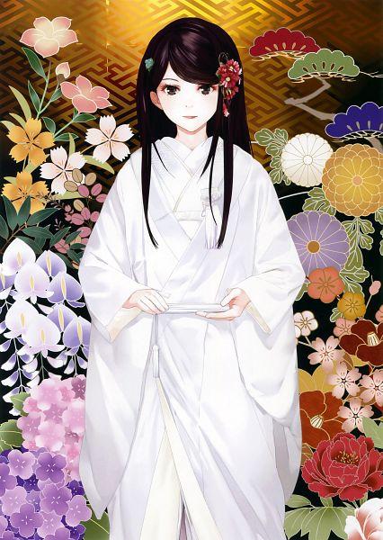 Tags: Anime, Okazaki Takeshi, Eshi 100-nin Ten 06, Shiromuku, Original, Mobile Wallpaper, Scan