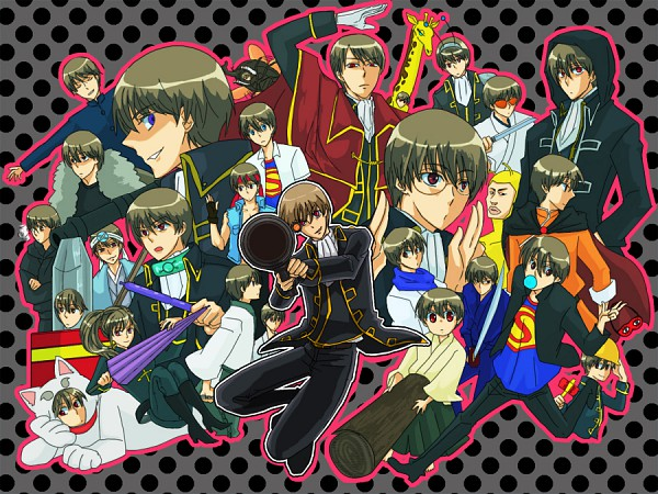 Tags: Anime, Pixiv Id 2999819, Gintama, Okita Sorachi, Okita Sougo, Tosshi (Cosplay), Rocket Launcher, Sleep Mask, Dog Costume, Sadaharu (Cosplay), Bug Costume, Giraffe Costume, Hijikata Toushirou (Cosplay)