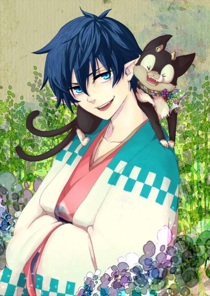 Tags: Anime, Pixiv Id 1745920, Ao no Exorcist, Kuro (Ao no Exorcist), Okumura Rin, Mobile Wallpaper