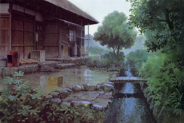Tags: Anime, Studio Ghibli, Omohide Poro Poro, Garden, Scan, Official Art, Only Yesterday