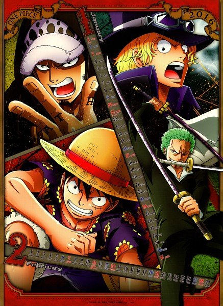 Tags: Anime, Toei Animation, ONE PIECE, ONE PIECE 2016 Calendar, Monkey D. Luffy, Roronoa Zoro, Sabo, Trafalgar Law, One Piece: Two Years Later, Mobile Wallpaper, Scan, Official Art, Calendar 2016