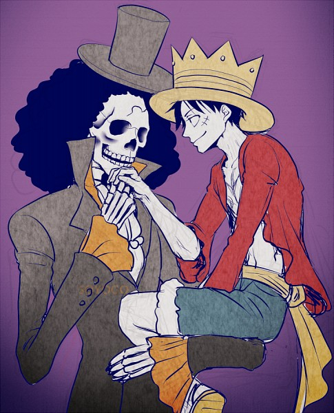 Tags: Anime, Pixiv Id 638133, ONE PIECE, Brook, Monkey D. Luffy, Fanart From Pixiv, PNG Conversion, One Piece: Two Years Later, Fanart, Pixiv