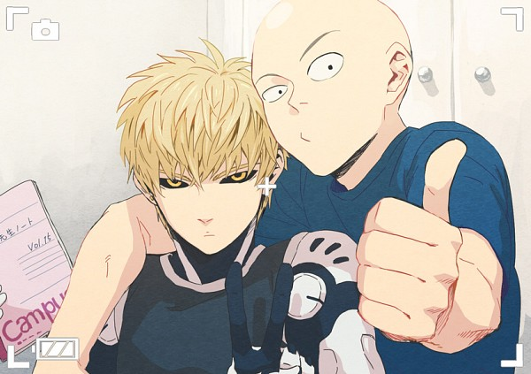 Tags: Anime, Pixiv Id 552656, One Punch Man, Genos (One Punch Man), Saitama (One Punch Man), Thumbs Up, Pixiv, Fanart