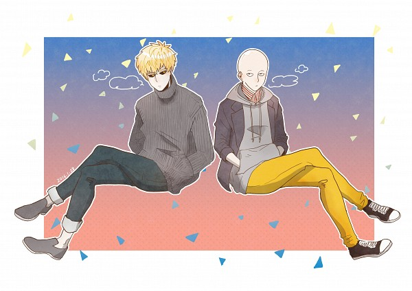 Tags: Anime, Pixiv Id 16928080, One Punch Man, Genos (One Punch Man), Saitama (One Punch Man), Yellow Pants, Fanart, Fanart From Pixiv, Pixiv