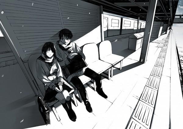 Tags: Anime, Onigunsou, Train Station, Railroad Tracks, Pixiv, Original