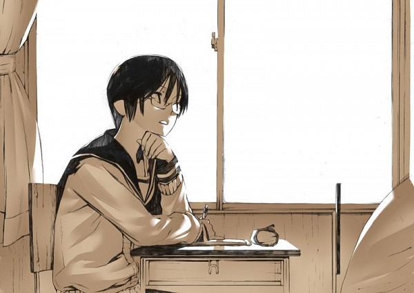 Tags: Anime, Onigunsou, School Desk, Thinking, Original, Pixiv