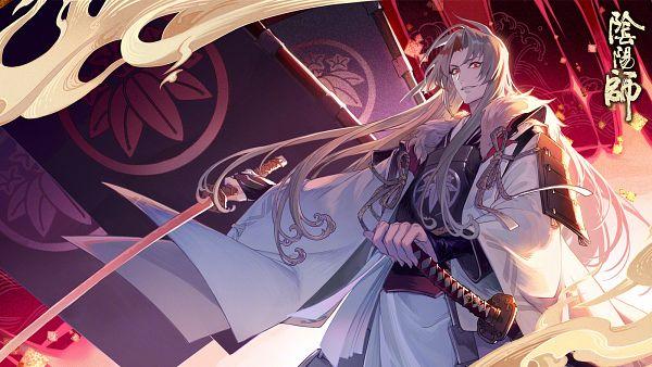 Tags: Anime, Onmyouji (NetEase), Onikiri (Onmyouji), Minamoto no Yorimitsu (Onmyouji), 1600x900 Wallpaper, Tachi, Wallpaper, Artist Request, Official Art, Facebook Cover