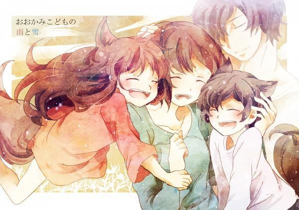 Tags: Anime, Rio (Pixiv2011923), Ookami Kodomo no Ame to Yuki, Hana (Ookami Kodomo), Ookami Otoko, Ame (Ookami Kodomo), Yuki (Ookami Kodomo), Pixiv, Fanart, Fanart From Pixiv, The Wolf Children Ame And Yuki