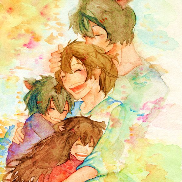 Tags: Anime, Pixiv Id 1999722, Ookami Kodomo no Ame to Yuki, Yuki (Ookami Kodomo), Hana (Ookami Kodomo), Ookami Otoko, Ame (Ookami Kodomo), Group Hug, Watercolor, Traditional Media, Pixiv, Fanart From Pixiv, Fanart, The Wolf Children Ame And Yuki