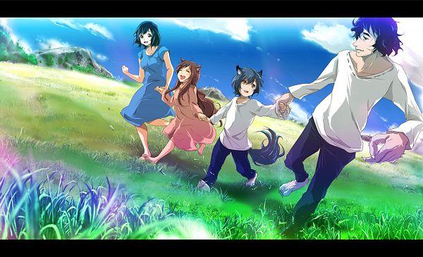 Tags: Anime, 71 (Artist), Ookami Kodomo no Ame to Yuki, Yuki (Ookami Kodomo), Hana (Ookami Kodomo), Ookami Otoko, Ame (Ookami Kodomo), Pixiv, Fanart, The Wolf Children Ame And Yuki