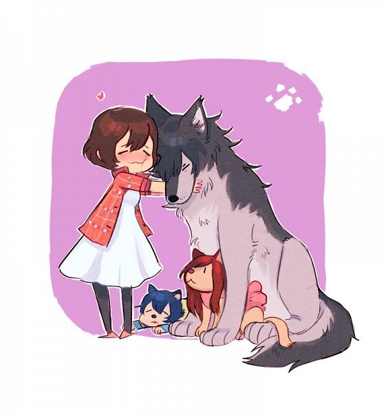 Tags: Anime, Yummytomatoes, Ookami Kodomo no Ame to Yuki, Ame (Ookami Kodomo), Yuki (Ookami Kodomo), Hana (Ookami Kodomo), Ookami Otoko, Tumblr, PNG Conversion, Fanart, The Wolf Children Ame And Yuki