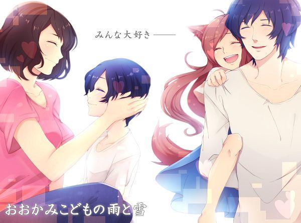 Tags: Anime, Pixiv Id 3899468, Ookami Kodomo no Ame to Yuki, Yuki (Ookami Kodomo), Hana (Ookami Kodomo), Ookami Otoko, Ame (Ookami Kodomo), Pixiv, The Wolf Children Ame And Yuki