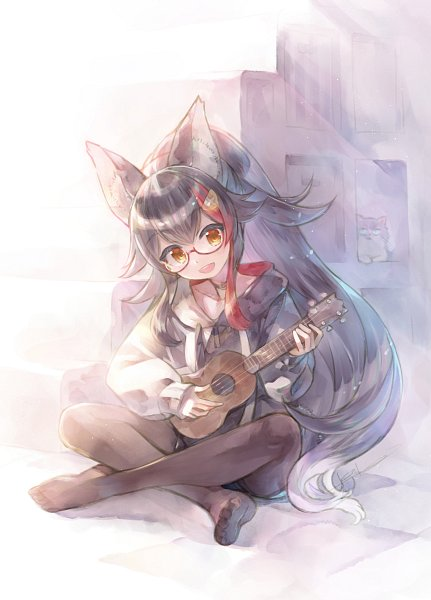 Tags: Anime, KEI (Pixiv4088), Hololive, Mio Channel, Ookami Mio, Ukulele, Fanart, Twitter