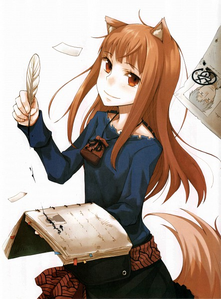 Tags: Anime, Ayakura Juu, Ookami to Koushinryou, Horo, Kraft Lawrence, Official Art, Scan, Spice And Wolf