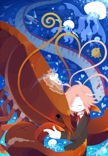 Tags: Anime, Mogeko (Okegom), Oounabara to Wadanohara, Pulmo, Tatsumiya (Wadanohara), Doloz, Cherryblod, Lobster, Official Art, Mobile Wallpaper, Wadanohara And The Great Blue Sea