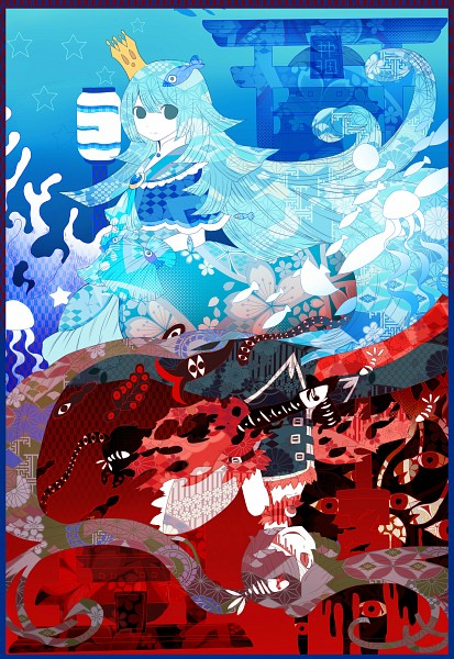 Tags: Anime, Pixiv Id 5471774, Oounabara to Wadanohara, Princess Mikotsu, Princess Uomi, Opposites, Jellyfish, Gate, Coral, Fanart From Pixiv, Pixiv, Fanart, Fanart From Tumblr, Wadanohara And The Great Blue Sea