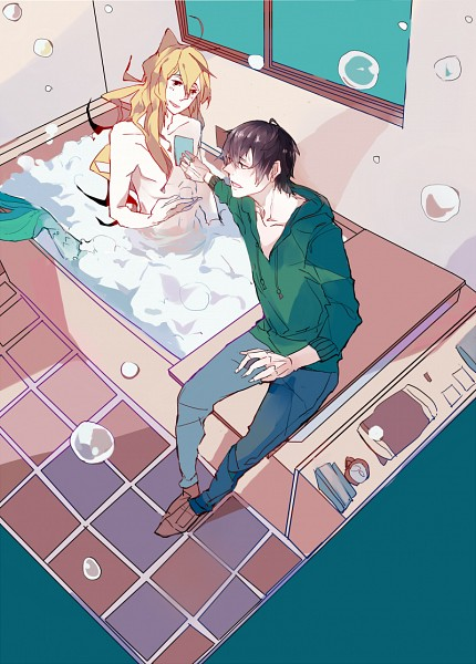 Tags: Anime, Orenchi no Furo Jijou, Tatsumi (Orenchi no Furo Jijou), Wakasa (Orenchi no Furo Jijou), Bathtub, Bathroom, Fanart, Mobile Wallpaper, Fanart From Pixiv, Pixiv