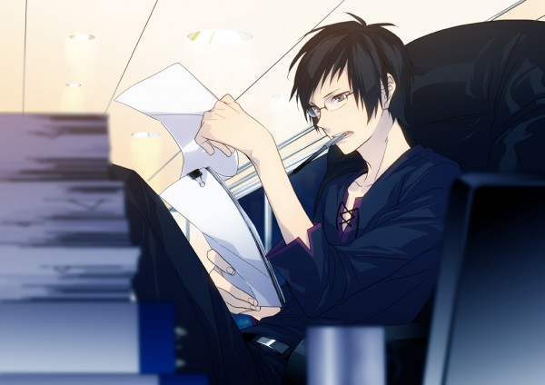 Tags: Anime, ryugo, DURARARA!!, Orihara Izaya, Holding Paper, Office, Boss, Office Chair, Pile, Work, Fanart, Fanart From Pixiv, Pixiv, Izaya Orihara