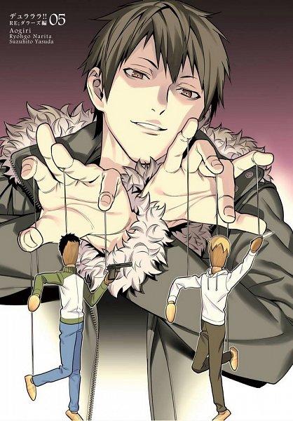 Tags: Anime, Aogiri (Mangaka), DURARARA!!, Orihara Izaya, Marionette, Manga Cover, Official Art, Izaya Orihara