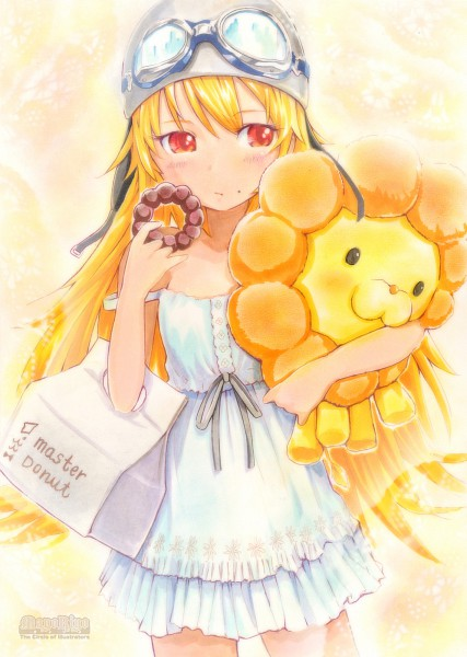 Tags: Anime, MayoRiyo, Monogatari, Aviator Hat, Stuffed Lion, Traditional Media, Pixiv