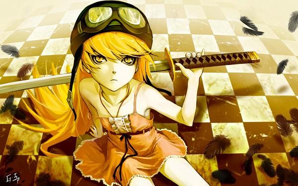 Tags: Anime, As109, Monogatari, Oshino Shinobu, Strap Slip, Aviator Hat, Pixiv, Wallpaper, Fanart, HD Wallpaper