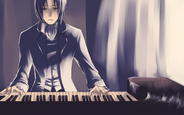 Tags: Anime, Amazon (Artist), Pandora Hearts, Oswald Baskerville, Playing Piano, Tumblr, Fanart, PNG Conversion