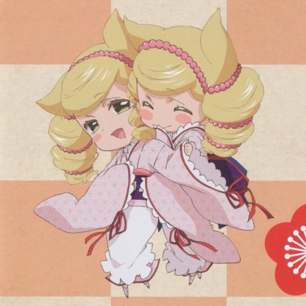 Tags: Anime, Otome Youkai Zakuro, Houzuki (Otome Youkai Zakuro), Bonbori (Otome Youkai Zakuro), Asa no Ha (Pattern), Official Art, Girl Demon Zakuro
