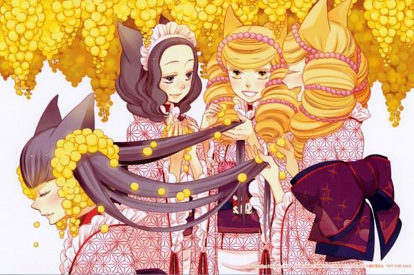 Tags: Anime, Hoshino Lily, Otome Youkai Zakuro, Zakuro (Otome Youkai Zakuro), Bonbori (Otome Youkai Zakuro), Susukihotaru, Houzuki (Otome Youkai Zakuro), Asa no Ha (Pattern), Official Art, Girl Demon Zakuro