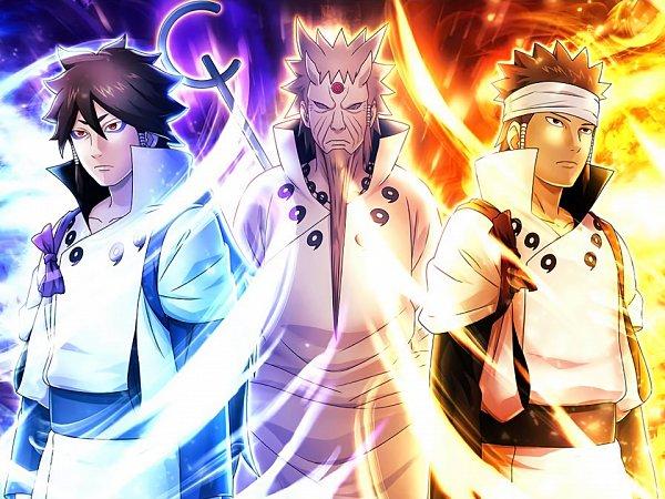 Tags: Anime, NARUTO, Otsutsuki Hagoromo, Otsutsuki Asura, Otsutsuki Indra, Glowing Background, Official Art, Otsutsuki Clan