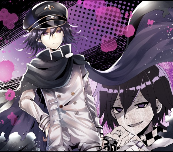 Tags: Anime, Asagiri Kei, New Danganronpa V3, Ouma Kokichi, Checkered Neckwear, Unusual Colored Blood, PNG Conversion, Fanart, Tumblr