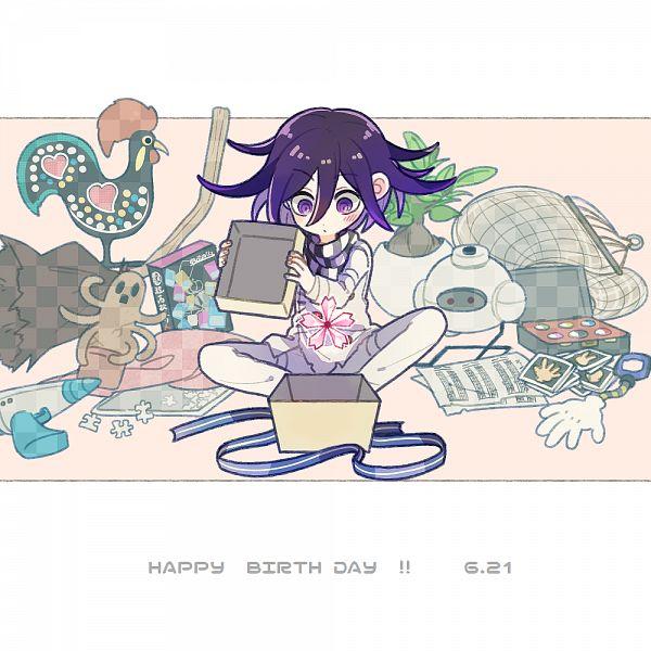 Tags: Anime, Pixiv Id 460180, New Danganronpa V3, Ouma Kokichi, Puzzle Piece, Checkered Neckwear, Pixiv, Fanart, Fanart From Pixiv