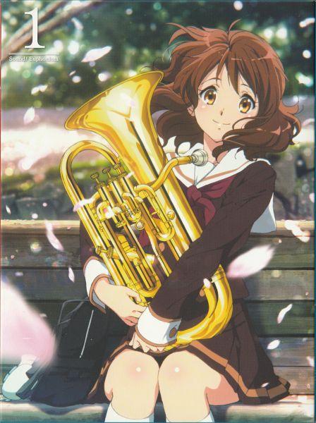 Tags: Anime, Ikeda Shouko, Kyoto Animation, Hibike! Euphonium, Oumae Kumiko, Tuba (Musical Instrument), Scan, DVD (Source), Mobile Wallpaper, Official Art