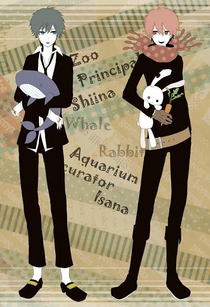 Tags: Anime, Itsuya (Pixiv723929), Oumagadoki Doubutsuen, Isana, Shiina (Oumagadoki), Stuffed Fish, Fanart, Mobile Wallpaper, Pixiv