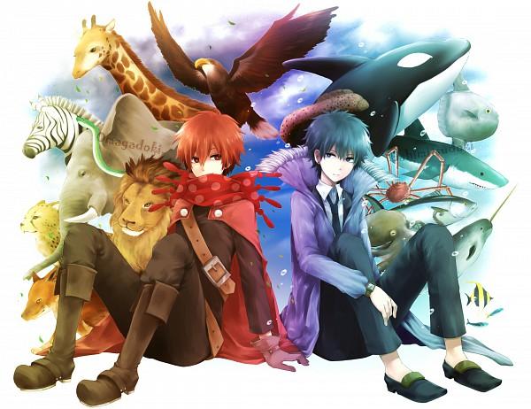 Tags: Anime, Itsuya (Pixiv723929), Oumagadoki Doubutsuen, Isana, Shiina (Oumagadoki), Shark, Giraffe, Whale, Pixiv, Fanart
