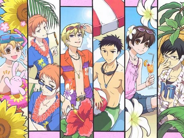 Tags: Anime, Ouran High School Host Club, Hitachiin Kaoru, Ootori Kyoya, René Tamaki Richard de Grantaine, Usa-chan, Fujioka Haruhi, Morinozuka Takashi, Hitachiin Hikaru, Haninozuka Mitsukuni, Snorkel, Wallpaper
