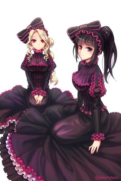 Tags: Anime, Pixiv Id 196317, Overlord, Narberal Gamma, Shalltear Bloodfallen, PNG Conversion, Pixiv, Fanart, Mobile Wallpaper, Fanart From Pixiv