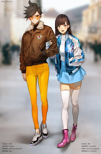 Tags: Anime, Yang-do, Overwatch, D.Va, Tracer, Bomber Jacket, Brown Jacket, Yellow Pants, Pixiv, Mobile Wallpaper, Fanart, Fanart From Pixiv