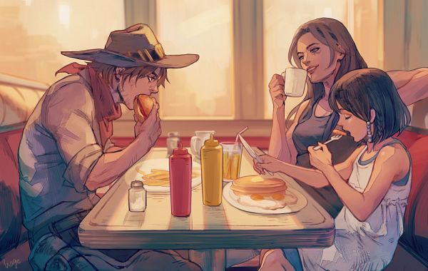 Tags: Anime, Sae (Artist), Overwatch, McCree, Ana (Overwatch), Pharah, Pancakes, Fast Food, Pixiv, Fanart From Pixiv, Fanart