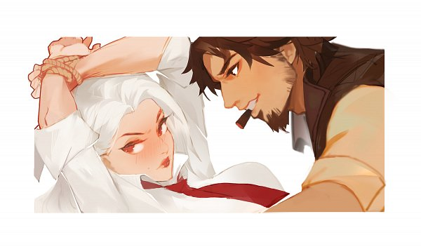 Tags: Anime, Pixiv Id 2976266, Overwatch, Ashe (Overwatch), McCree, Cigar, Pixiv, Fanart, Fanart From Pixiv