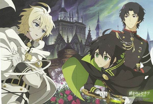 Tags: Anime, WIT STUDIO, Owari no Seraph, Hyakuya Mikaela, Hyakuya Yuuichirou, Ichinose Guren, Grabbing Cape, Official Art, Scan, MikaYuu, Seraph Of The End