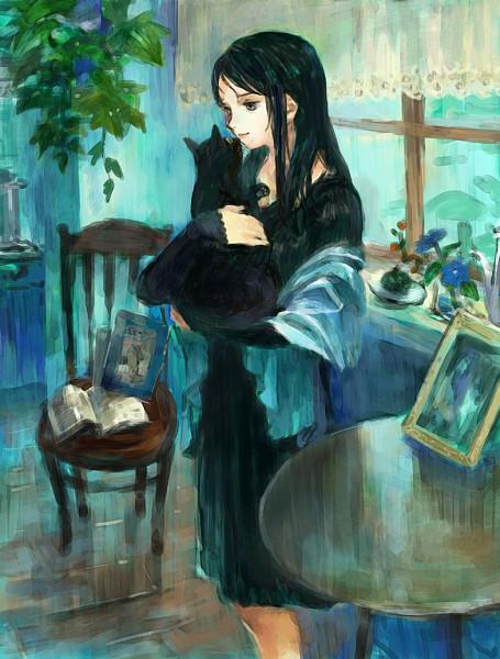 Tags: Anime, Oyabin (artist), Hugging Animal, Traditional Media, Pixiv, Original, Watercolor