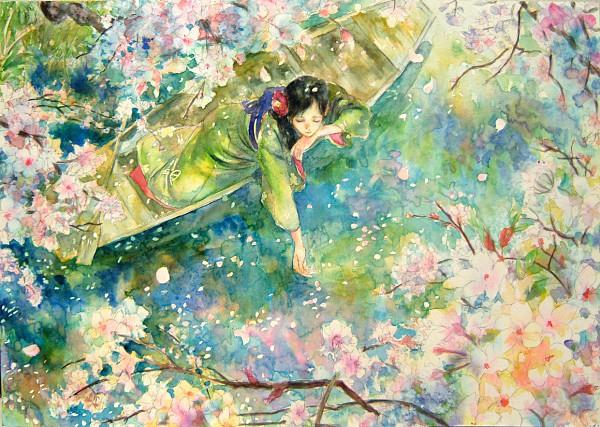 Tags: Anime, Oyabin (artist), Detailed, Traditional Media, Pixiv, Original, Watercolor