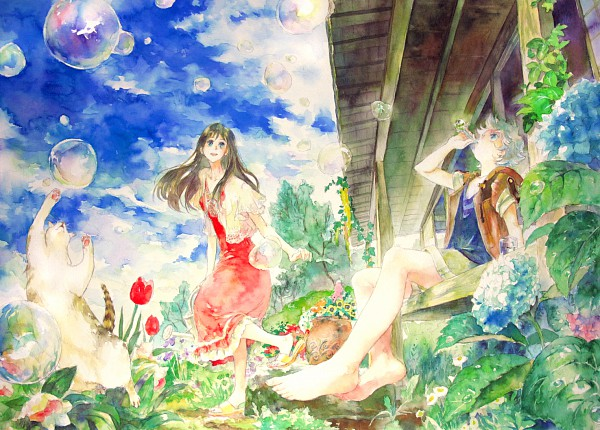 Tags: Anime, Oyabin (artist), Detailed, Pixiv, Original, Watercolor, Traditional Media