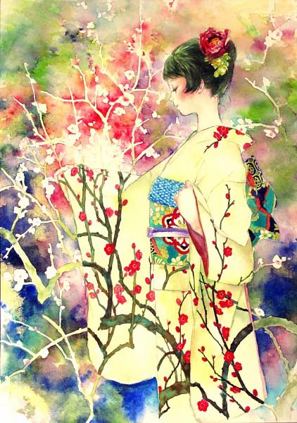 Tags: Anime, Oyabin (artist), Detailed, Original, Watercolor, Traditional Media, Mobile Wallpaper, Pixiv