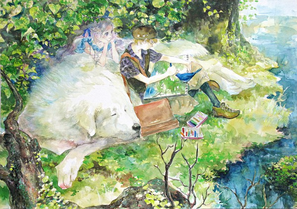 Tags: Anime, Oyabin (artist), Painting (Action), Drawing (Action), Big Dog, Detailed, Pixiv, Original, Watercolor, Traditional Media