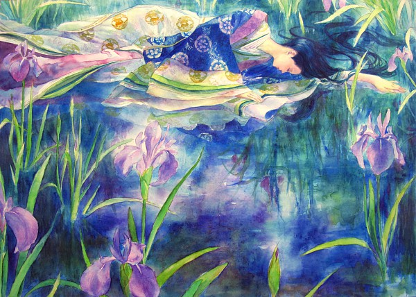 Tags: Anime, Oyabin (artist), Iris, Detailed, Junihitoe, Original, Watercolor, Traditional Media, Pixiv