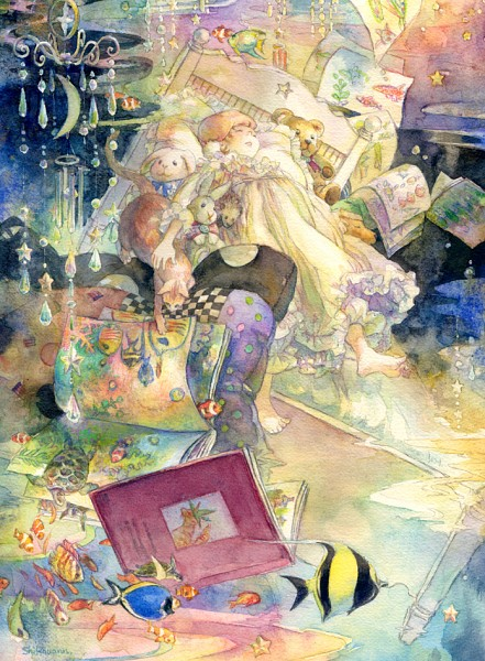 Tags: Anime, Oyabin (artist), Painting (Object), Dreaming, Turtle, Detailed, Pixiv, Original, Watercolor, Traditional Media