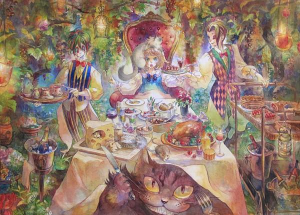 Tags: Anime, Oyabin (artist), Alice in Wonderland, Alice (Alice in Wonderland), Cheese, Detailed, Watercolor, Traditional Media, Pixiv