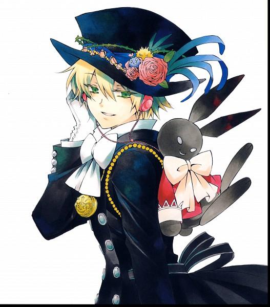 Tags: Anime, Mochizuki Jun, SQUARE ENIX, Pandora Hearts, Pandora Hearts ~Odds And Ends~, B Rabbit, Emily (Pandora Hearts), Oz Vessalius, Pocket Watch, Hand on Headphones, CD (Source), Official Art, Scan