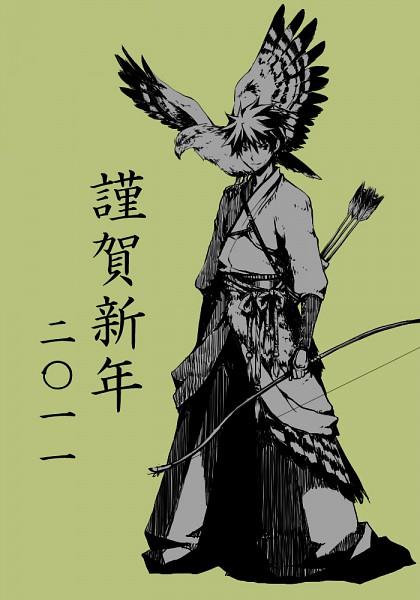 Tags: Anime, 37k, Shiki, Ozaki Toshio, Eagle, Bird on Shoulder, Mobile Wallpaper, Pixiv